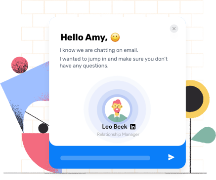 Chatbot greeting message with a personalized message. Includes visitor name and contextual information.