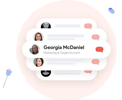 Identifying a website visitor as Georgia McDaniel, Marketing at a Target account. Allows you to personalize the conversation to better suit her interests.