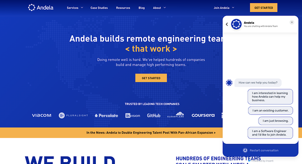 Conversation page on Andela's homepage, that shows an active Insent bot (ex of conversational marketing)
