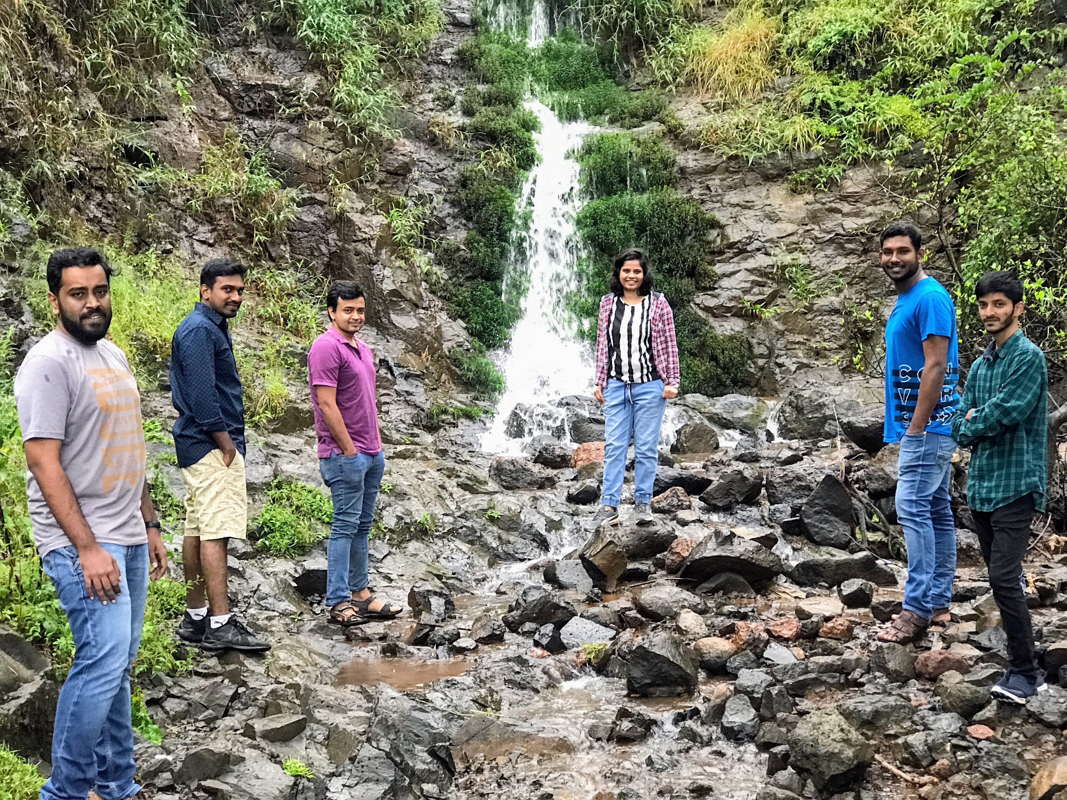 Insent team near Mahabaleshwar waterfalls